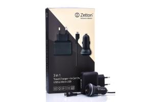 Комплект 3 в 1 АЗУ с вых. USB 2,1А + СЗУ с вых. USB 2,4А + кабель Micro USB (Zetton ZT3IN12A1UMC)