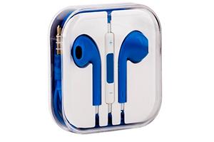 Наушники для iPhone 5/iPad mini/iPad и совместимые (синие/коробка)