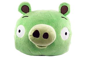 """Колонка """"Wrathful Birds Зеленая Свинья"""" мягкая игрушка  (3,5 мм. питание от 2 х АА) (коробка)"""