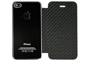 Задняя крышка-флип для iPhone 4S металл + кожа (черная/черная) (прозрачный бокс)