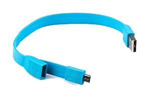 """USB Дата-кабель """"LP"""" Micro USB """"плоский браслет"""" (голубой/европакет)"""