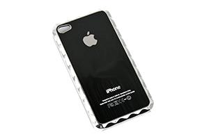 Защитная крышка для iPhone 4/4S фигурный хром + металл (Черный) (упаковка прозрачный бокс)