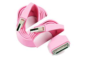 "USB Дата-кабель ""LP"" для Apple iPhone/iPad 30 pin плоский широкий (розовый/европакет)"