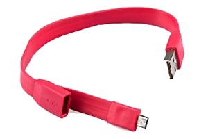 """USB Дата-кабель """"LP"""" Micro USB """"плоский браслет"""" (красный/европакет)"""