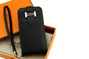 Чехол раскладной для iPhone 4/4S HERMES Вертикальный (кожа/черный)