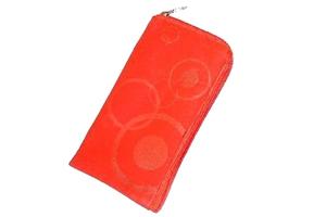 Футляр №3 на молнии с кружочками N70 красный (нубук + веревочка)