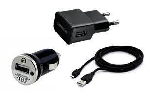 Набор 3 в 1 для Samsung Galaxy S4 сеть/авто/кабель miсro USB (черный/коробка)