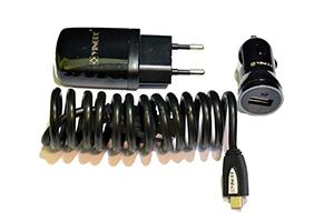 Набор 3 в 1 HTC YINGDE сеть/авто/кабель (блистер)