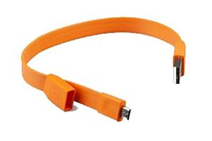 """USB Дата-кабель """"LP"""" Micro USB """"плоский браслет"""" (оранжевый/европакет)"""
