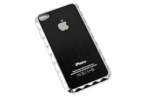 Задняя крышка для iPhone 4S металл с рамкой (Черный) (упаковка прозрачный бокс)