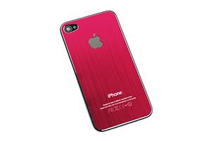 Задняя крышка для iPhone 4 металл (Розовый) (упаковка прозрачный бокс)