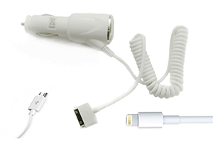 "АЗУ ""Car-Charger"" 4 в 1 1000мА (Apple 8 pin, Apple 30 pin, Samsung Tab, Micro USB) (белый/блистер)"