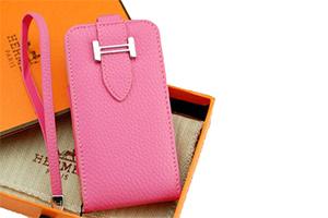 Чехол раскладной для iPhone 5/5s HERMES Вертикальный (кожа/розовый)