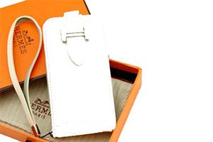 Чехол раскладной для iPhone 4/4S HERMES Вертикальный (кожа/белый)