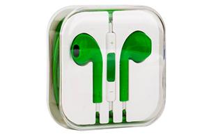 Наушники для iPhone 5/iPad mini/iPad и совместимые (зеленые/коробка)