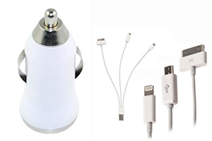 "УАЗУ (авто) 4 в 1 ""Rapid Car Charger"" Apple 8 pin/Apple 30 pin/Micro USB/Samsung Tab (коробка)"