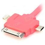 USB Дата-кабель 3 в 1 (micro USB/Apple 30pin/Apple 8pin/LED индикатор) (плоский розовый/европакет)