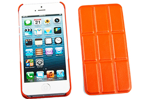 "Защитная крышка для iPhone 5/5S ""Smart Shell"" пластик+кожа (оранжевая)"