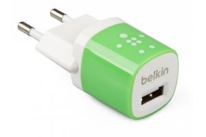 "СЗУ ""Belkin"" 1A с USB выходом (F8JO17E GRN) (белый/зеленый)"