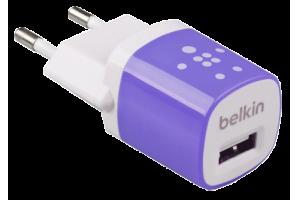 """СЗУ """"Belkin"""" 1A с USB выходом (F8JO17E PUR) (белый/сиреневый)"""