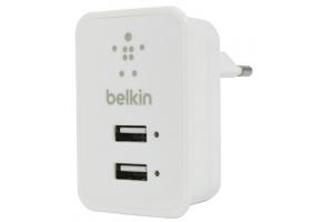 "СЗУ ""Belkin"" 2,1A (F8J053ettWHT) с двумя USB выходами + кабель Apple 8 pin (белый)"