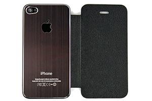 Задняя крышка-флип для iPhone 4S металл + кожа (коричневая/черная) (прозрачный бокс)