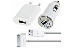 Набор 3 в 1 для iPhone USB Power Adapter (MB352LL/B) сеть/авто/кабель (прозрачный бокс)