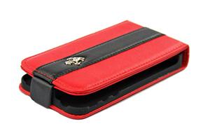 """Чехол раскладной для iPhone 4/4S """"Ferrari"""" (кожа/красный с черной полосой/блистер)"""