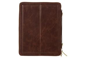 Сумка для iPad 2/3/4 через плечо, на молнии, органайзер (кожа, коричневая)