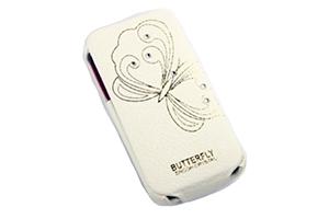 """Чехол для iPhone 4/4S """"FIGO"""" раскладной кожа с пресс рисунком бабочка (белый)"""