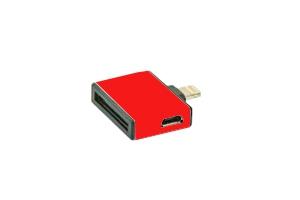 Переходник 3 в 1 для Apple с 30 pin/micro USB/mini USB на 8 pin lighting (красный/коробка)