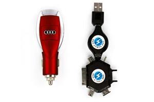 АЗУ универсальное Audi (Красный, 6 разъемов + USB) (коробка)