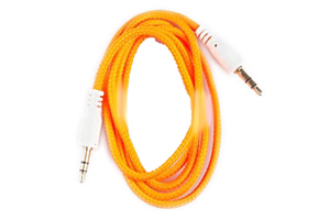 Аудиокабель в оплетке 1 м. (оранжевый/европакет)