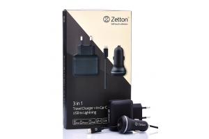 Комплект 3 в 1 АЗУ с вых. USB 2,1А + СЗУ с вых. USB 2,4А + кабель Apple 8 pin (Zetton ZT3IN12A1UA8)