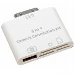 5 в 1 картридер для iPad 2/3/iPhone (все типы карт+USB) (коробка) DR02-IPA