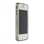 Bumper со стразами для iPhone 4/4S металл (матовое серебро)