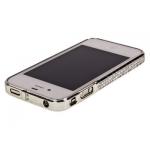 Bumper со стразами для iPhone 4/4S металл (графит)