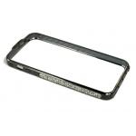 Bumper со стразами для iPhone 5 металл (графит/белые стразы)