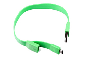 """USB Дата-кабель """"LP"""" Micro USB """"плоский браслет"""" (зеленый/европакет)"""