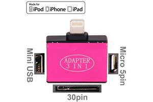 Переходник 3 в 1 для Apple с 30 pin/micro USB/mini USB на 8 pin lighting (розовый/коробка)