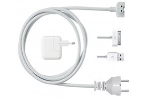 Шнур сетевой для зарядный устройств Apple 1,2 м. (белый/европакет)