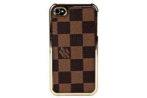 Задняя крышка для iPhone 4 LV (Клетка коричневая) (упаковка прозрачный бокс)