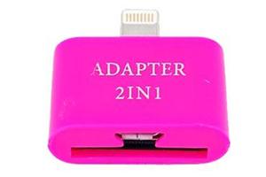"""Переходник 2 в 1 """"LP"""" для Apple с 30 pin/micro USB на 8 pin lighting (розовый/европакет)"""