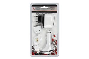 """Комплект зарядных устройств """"LP"""" 1A для Apple 30 pin USB/авто/сеть (УПАКОВКА ПАКЕТИК)"""