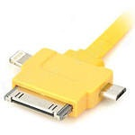 USB Дата-кабель 3 в 1 (micro USB/Apple 30pin/Apple 8pin/LED индикатор) (плоский желтый/европакет)
