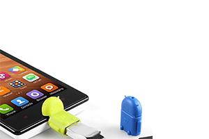 "USB адаптер для устройств с функцией OTG ""Android зеленый"" (под флэшки разъем micro USB)"