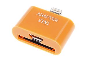 "Переходник 2 в 1 ""LP"" для Apple с 30 pin/micro USB на 8 pin lighting (оранжевый/европакет)"