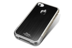 Защитная крышка для iPhone 4S глянцевый пластик + металл (Черный) (упаковка прозрачный бокс)