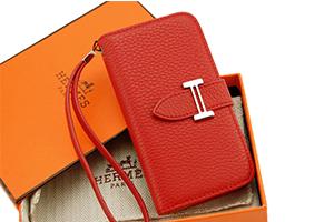 Чехол раскладной для iPhone 5/5s HERMES Горизонтальный (кожа/оранжевый)