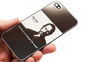 Задняя крышка для iPhone 4 Steve Jobs (Черный/серебро) (упаковка прозрачный бокс)